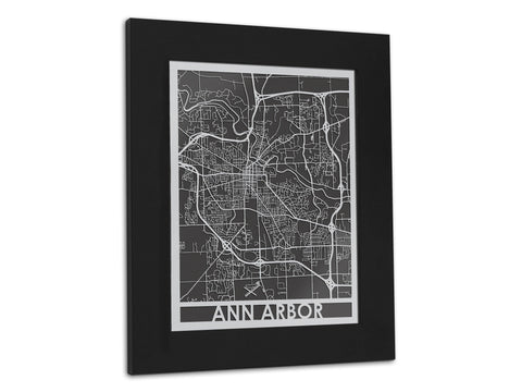"Ann Arbor - Stainless Steel Map - 11"" x 14"""