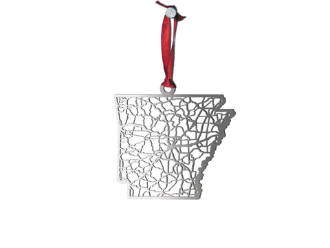 Arkansas Stainless Steel Christmas Ornament - Cool Cut Map Gift
