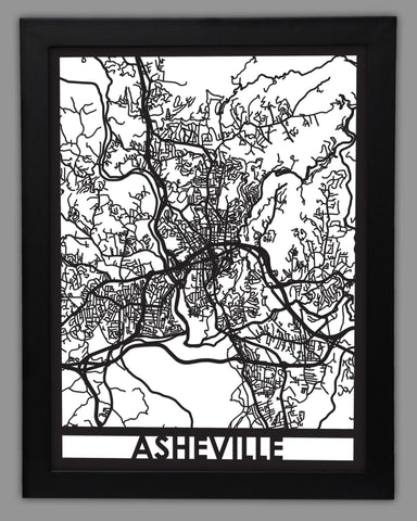 Asheville - Cool Cut Map Gift