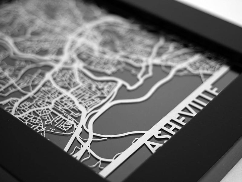 "Asheville - Stainless Steel Map - 5""x7"" - Cool Cut Map Gift"