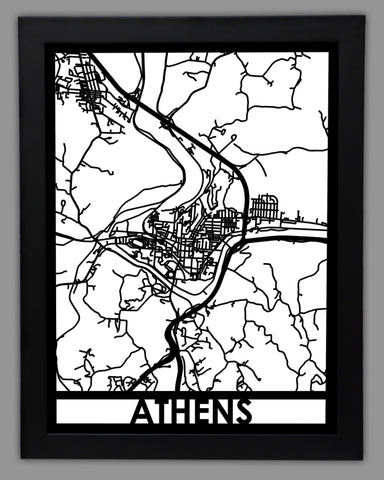 Athens - Cool Cut Map Gift