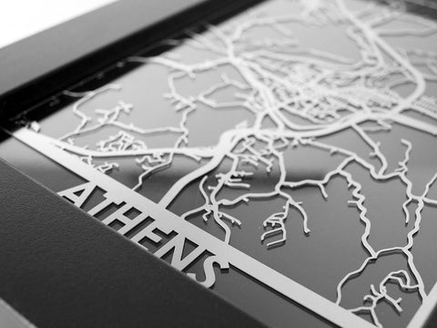 "Athens - Stainless Steel Map - 5""x7"" - Cool Cut Map Gift"