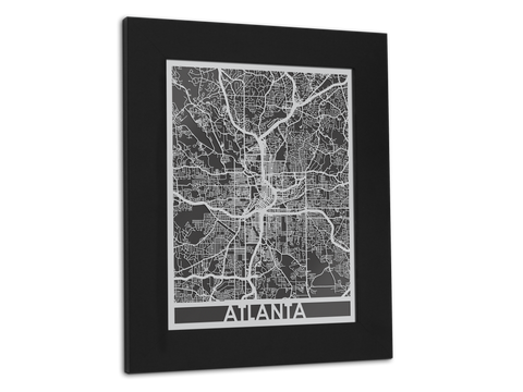 "Atlanta - Stainless Steel Map - 11"" x 14"" - Cut Maps - 1"
