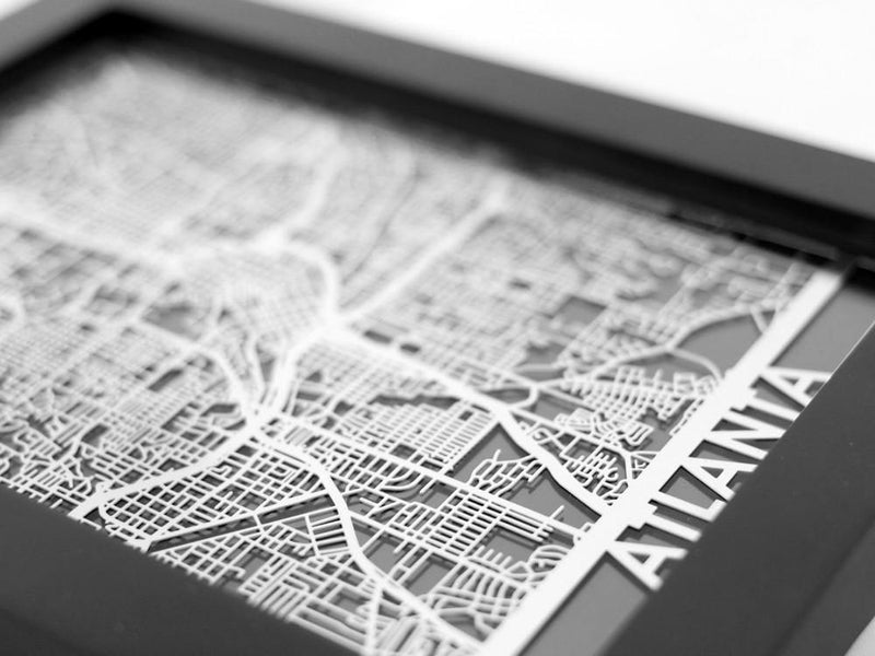 "Atlanta - Stainless Steel Map - 5""x7"" - Cut Maps"