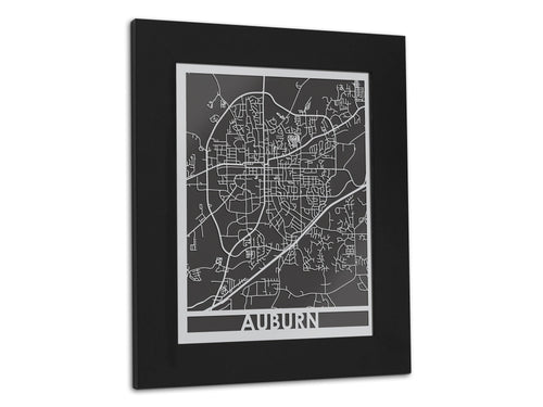 Auburn Stainless Steel 5x7 - Cool Cut Map Gift