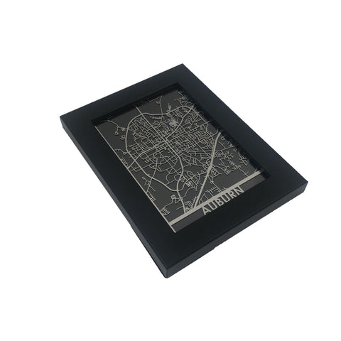 "Auburn - Stainless Steel Map - 5""x7"""