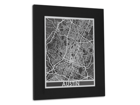 "Austin - Stainless Steel Map - 11"" x 14"" - Cut Maps - 1"