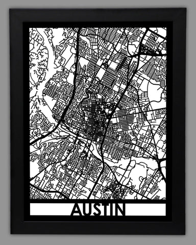 Austin - Cool Cut Map Gift