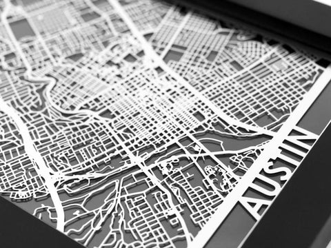 "Austin - Stainless Steel Map - 5""x7"" - Cool Cut Map Gift"