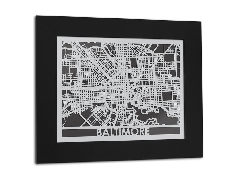 "Baltimore - Stainless Steel Map - 11"" x 14"""