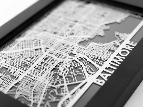 "Baltimore - Stainless Steel Map - 5""x7"" - Cool Cut Map Gift"