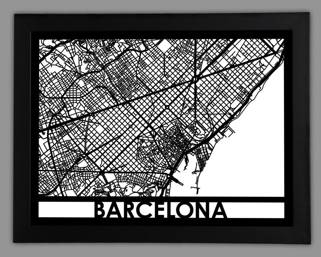 Barcelona - Cool Cut Map Gift