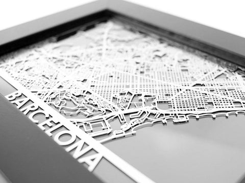 "Barcelona - Stainless Steel Map - 5""x7"" - Cool Cut Map Gift"