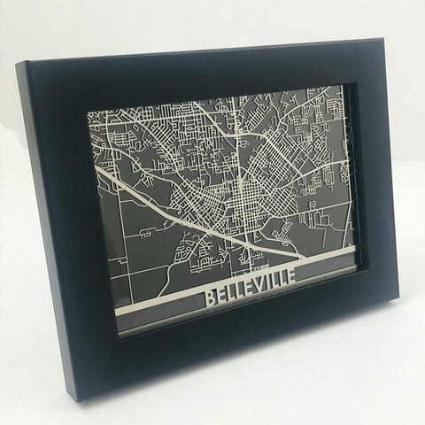 "Belleville - Stainless Steel Map - 5""x7"""