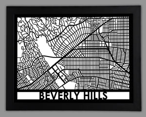 Beverly Hills - Cool Cut Map Gift