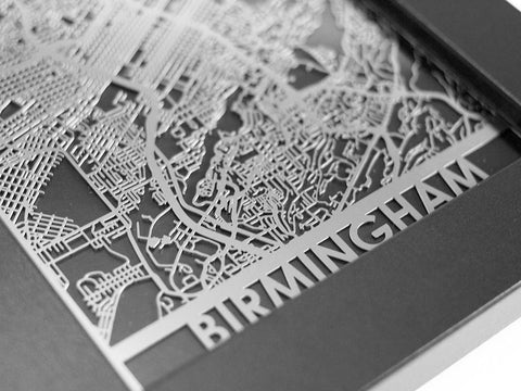 "Birmingham - Stainless Steel Map - 5""x7"" - Cut Maps - 1"