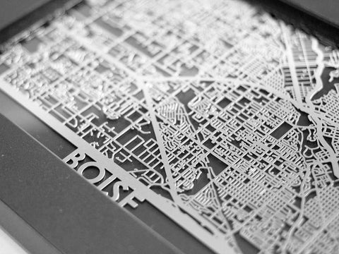 "Boise - Stainless Steel Map - 5""x7"" - Cut Maps - 1"