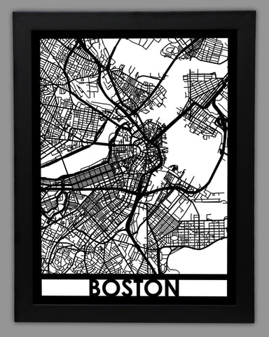 Boston - Cool Cut Map Gift
