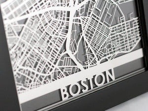 "Boston - Stainless Steel Map - 5""x7"""