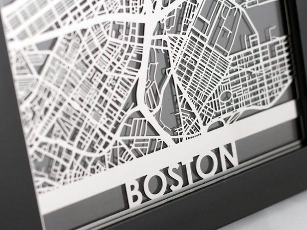 "Boston - Stainless Steel Map - 5""x7"" - Cool Cut Map Gift"