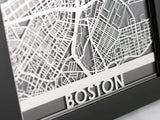 "Boston - Stainless Steel Map - 5""x7"" - Cut Maps - 1"