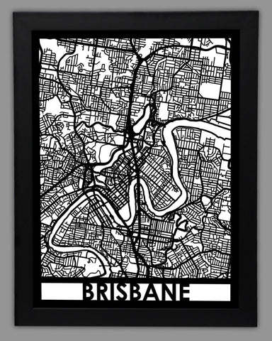 Brisbane - Cool Cut Map Gift