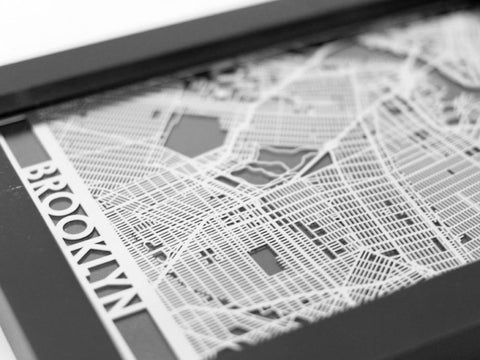 "Brooklyn - Stainless Steel Map - 5""x7"" - Cool Cut Map Gift"
