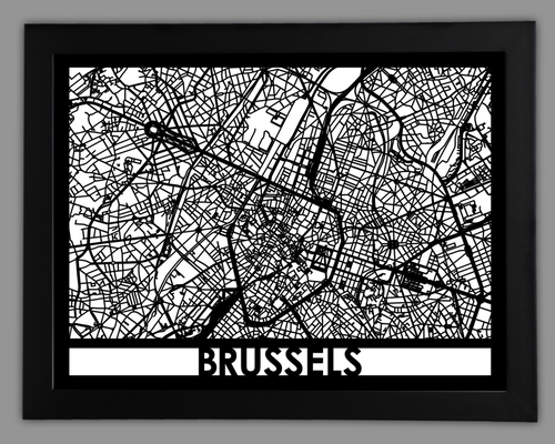 Brussels - Cool Cut Map Gift