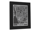 "Buffalo - Stainless Steel Map - 11"" x 14"" - Cool Cut Map Gift"