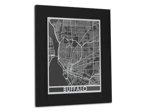 "Buffalo - Stainless Steel Map - 11"" x 14"" - Cut Maps - 1"