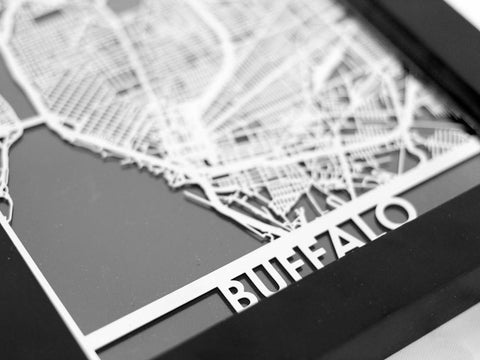 "Buffalo - Stainless Steel Map - 5""x7"" - Cool Cut Map Gift"
