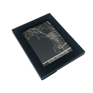 "Burlington, VT - Stainless Steel Map - 5""x7"""