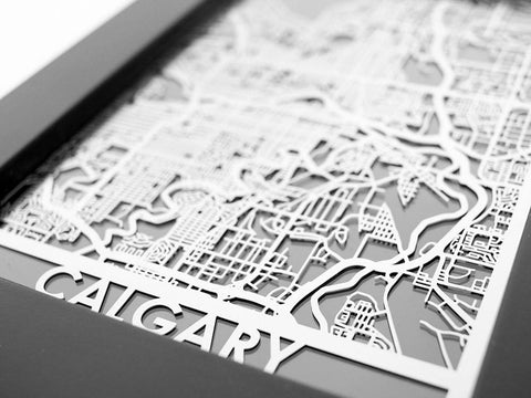 "Calgary - Stainless Steel Map - 5""x7"" - Cool Cut Map Gift"