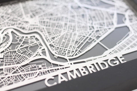 "Cambridge - Stainless Steel Map - 5""x7"" - Cut Maps - 1"