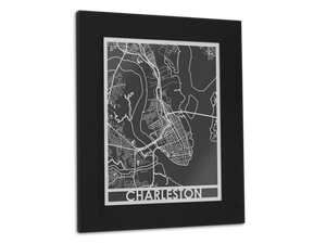 "Charleston - Stainless Steel Map - 11"" x 14"" - Cool Cut Map Gift"