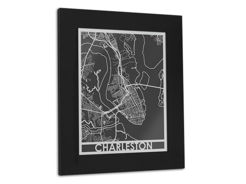 "Charleston - Stainless Steel Map - 11"" x 14"" - Cut Maps - 1"