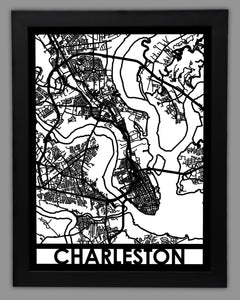 Charleston, SC - Cool Cut Map Gift