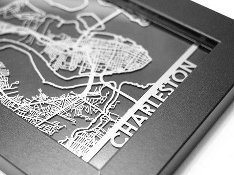 "Charleston - Stainless Steel Map - 5""x7"" - Cool Cut Map Gift"