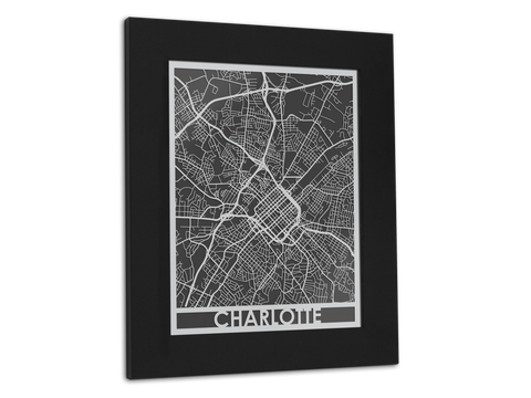 "Charlotte - Stainless Steel Map - 11"" x 14"" - Cut Maps - 1"