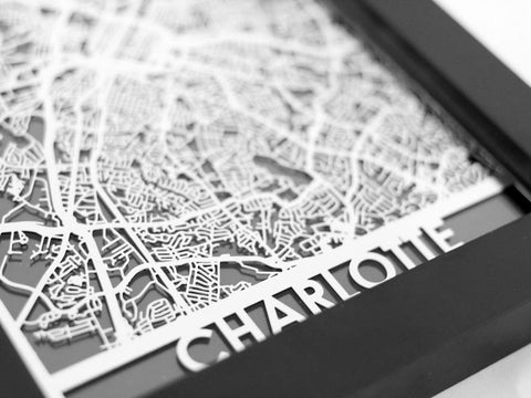 "Charlotte - Stainless Steel Map - 5""x7"" - Cool Cut Map Gift"