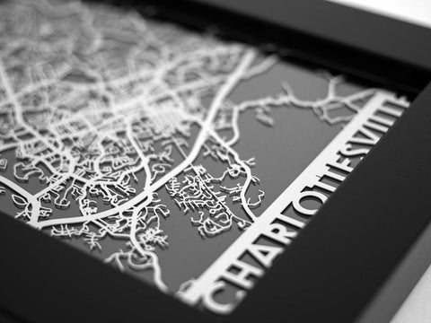 "Charlottesville - Stainless Steel Map - 5""x7"" - Cool Cut Map Gift"