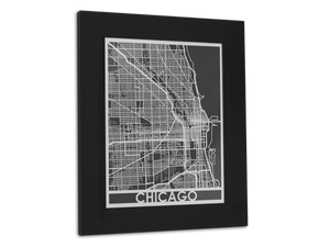 "Chicago - Stainless Steel Map - 11"" x 14"" - Cool Cut Map Gift"