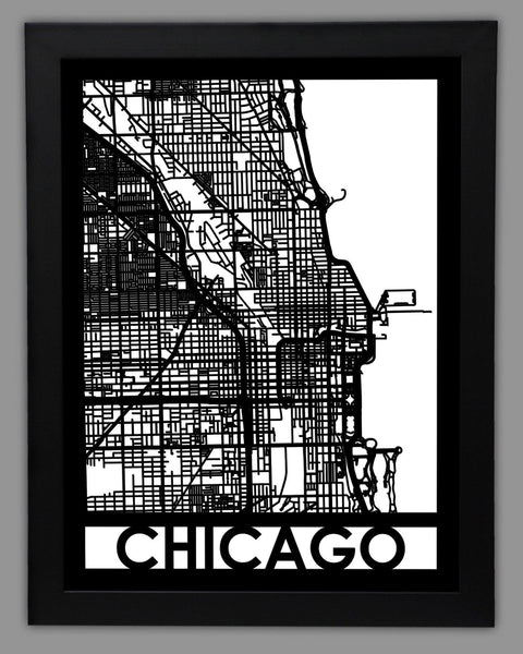 Chicago City Map Metal Wall Art Cut Maps