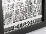 "Chicago - Stainless Steel Map - 5""x7"" - Cool Cut Map Gift"