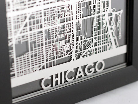 "Chicago - Stainless Steel Map - 5""x7"" - Cut Maps - 1"