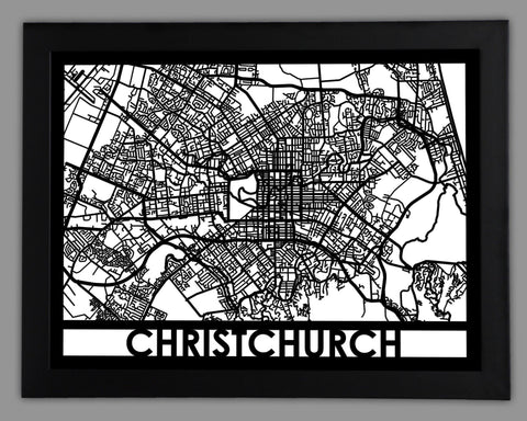 Christchurch - Cool Cut Map Gift