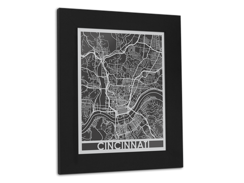 "Cincinnati - Stainless Steel Map - 11"" x 14"" - Cut Maps - 1"