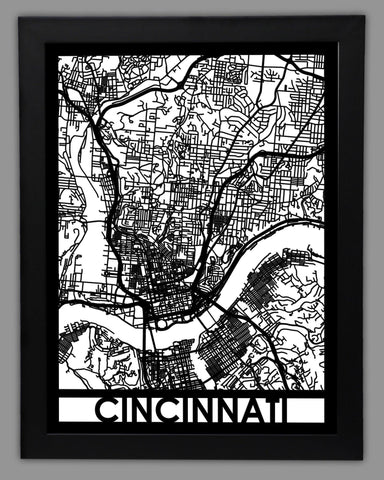 Cincinnati - Cool Cut Map Gift
