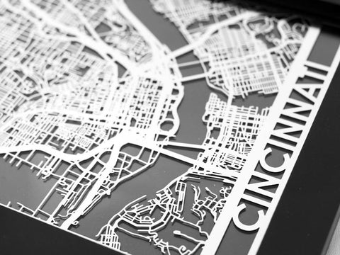 "Cincinnati - Stainless Steel Map - 5""x7"" - Cool Cut Map Gift"