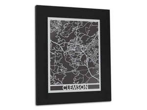 "Clemson - Stainless Steel Map - 5""x7"" - Cool Cut Map Gift"